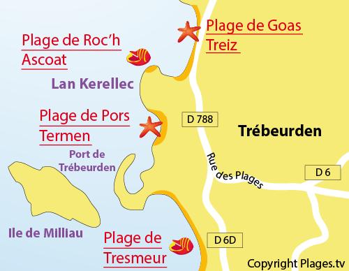 Carte de la plage de Pors Termen à Trébeurden