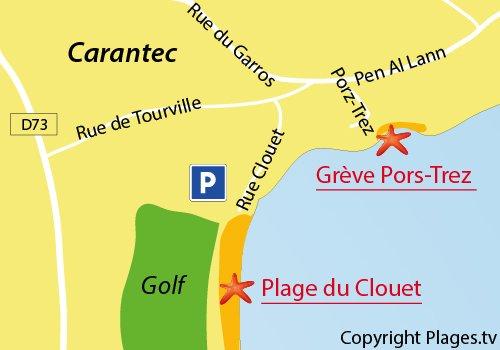 Map of Pors-Trez Beach in Carantec