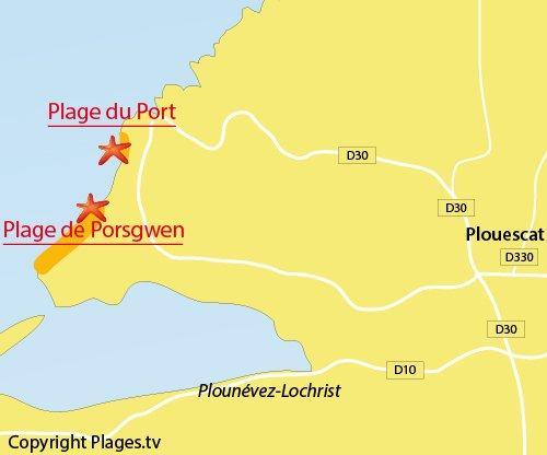 Carte de la plage de Porsgwen à Plouescat