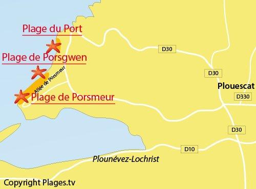 Carte de la plage de Porsmeur à Plouescat