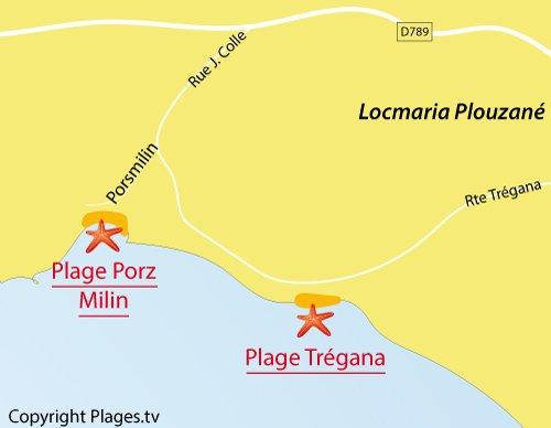 Carte de la plage de Porsmilin en Bretagne à proximité de Brest