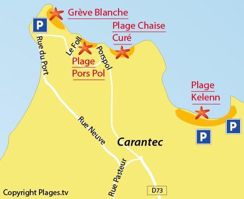 Map of Pors Pol Beach in Carantec