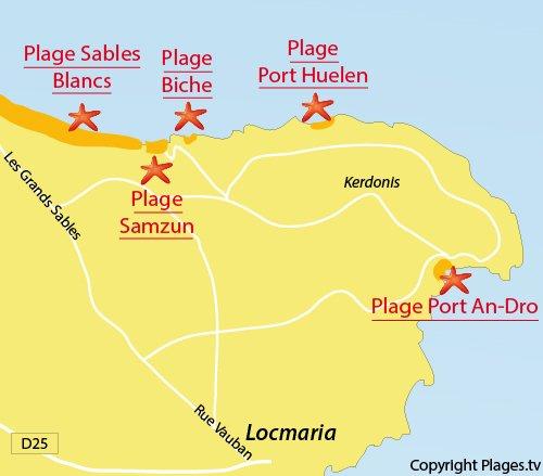 Carte de la plage de Port an Dro - Belle Ile en Mer
