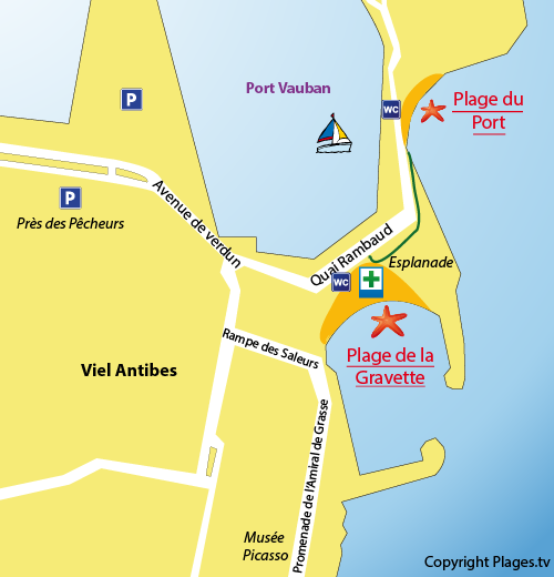 Plan de la plage du Port d'Antibes