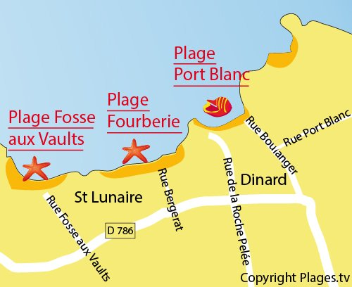 Map of Port Blanc Beach in Dinard