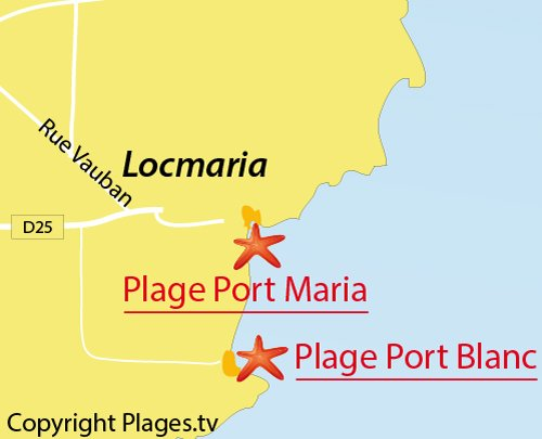 Map of Port Blanc Beach in Locmaria - Belle Ile