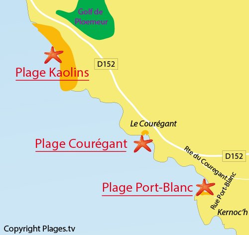 Map of Port Blanc Beach in Ploemeur