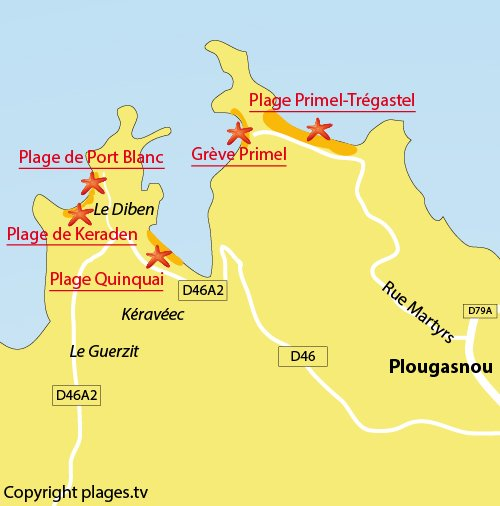 Carte de la plage de Port Blanc à Plougasnou