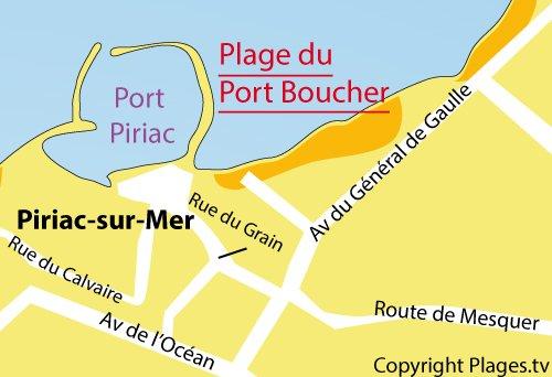 Map of Port Boucher Beach in Piriac sur Mer