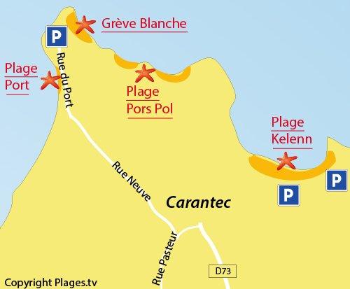 Carte de la plage du Port de Carantec