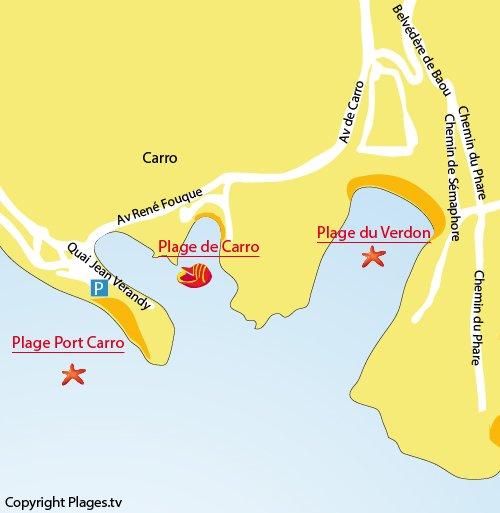 Mappa della Spiaggia porto di Carro a La Couronne