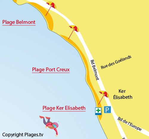 Map of Port Creux Beach in La Turballe