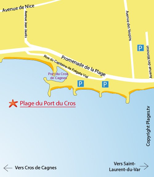 Map of Port du Cros Beach in Cagnes-sur-Mer