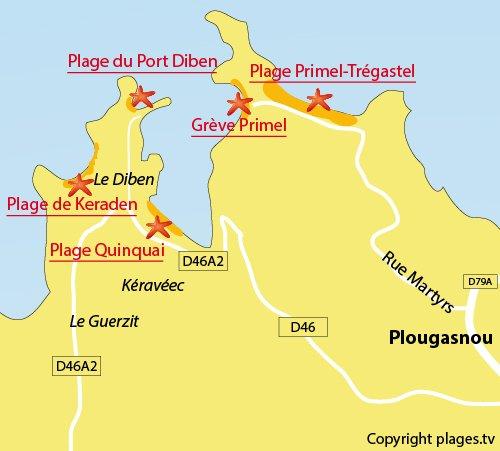 Carte de la plage du Port du Diben à Plougasnou