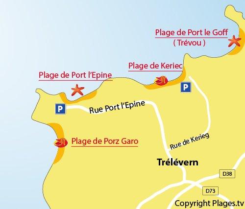 Carte de la plage de Port l'Epine à Trélévern