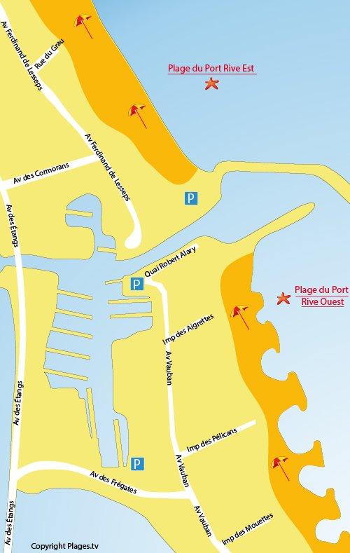 Plan des plages du Port de Frontignan