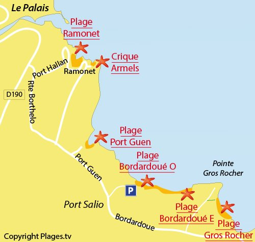 Carte de la plage de Port Guen à Belle Ile - Le Palais