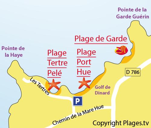Map of Port Hue Beach in St Briac sur Mer