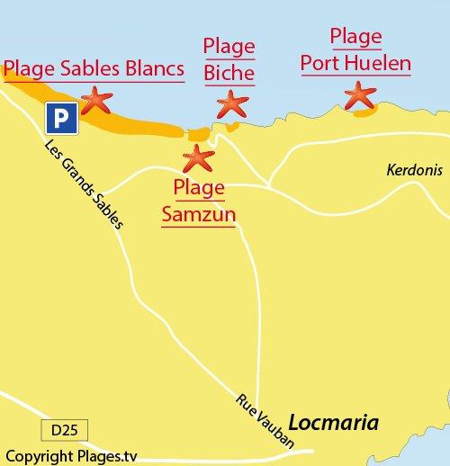 Map of Beach and coves of Porh Huelén in Belle Ile en Mer