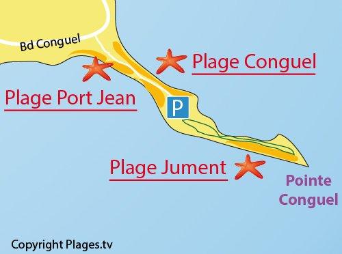Plan de la plage de Port Jean sur la presqu'ile de Quiberon