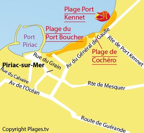 Map of Port Kennet Beach in Piriac sur Mer