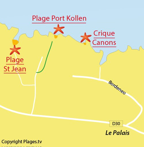 Carte de la plage de Port Kollen à Belle Ile en Mer
