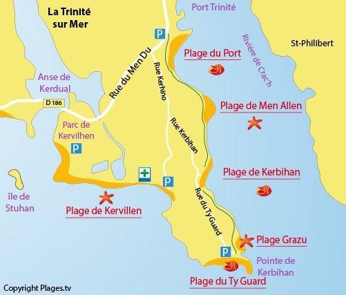 Map of Port Beach in La Trinité sur Mer