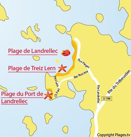 Plan de la plage de Port de Landrellec à Pleumeur Bodou