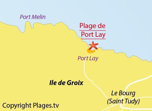 Carte de la plage de Port-Lay sur l'ile de Groix