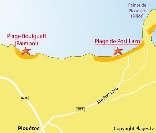 Plan de la plage de Port-Lazo de Plouézec