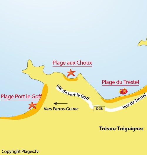 Plan de la plage de Port le Goff à Trévou Tréguignec