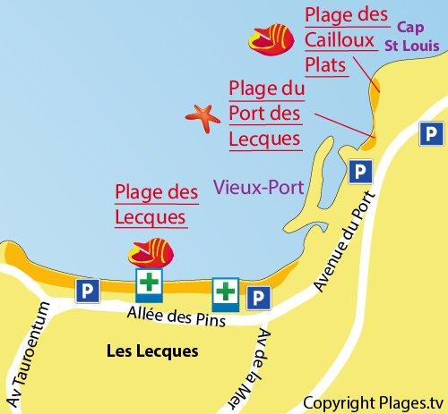 Mappa della Spiaggia del Porto di Les Lecques a St Cyr sur Mer