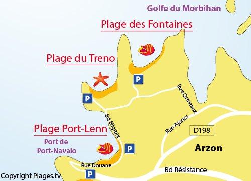 Carte de la plage de Port Lenn à Arzon