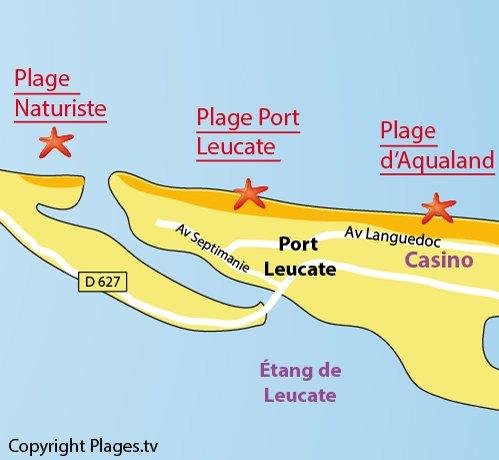 Plan de la plage de Port Leucate dans l'Aude