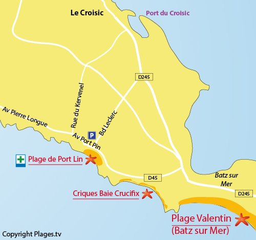 Map of Port Lin beach in Le Croisic - France