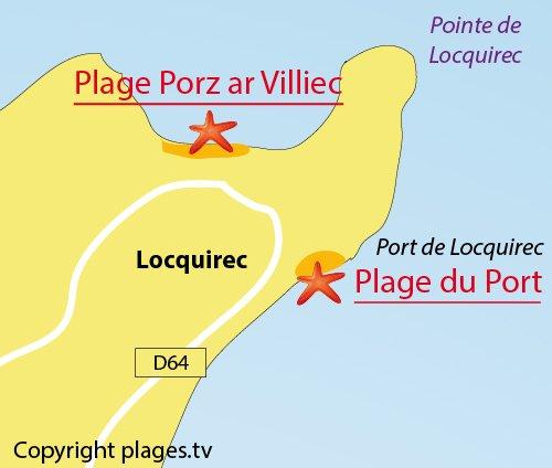Plan de la plage du Port de Locquirec