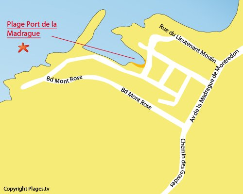 Carte de la plage du Port de la Madrague à Marseille