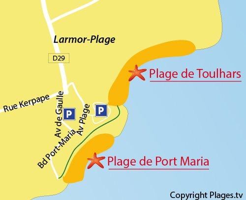 Map of Port-Maria Beach in Larmor