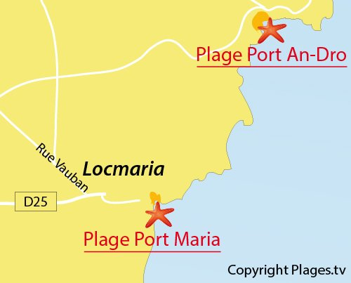 Map of Port Maria Cove in Belle Ile