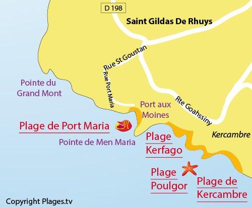 Carte de la plage de Port Maria à St Gildas de Rhuys