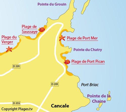 Plan de la plage de Port Mer à Cancale