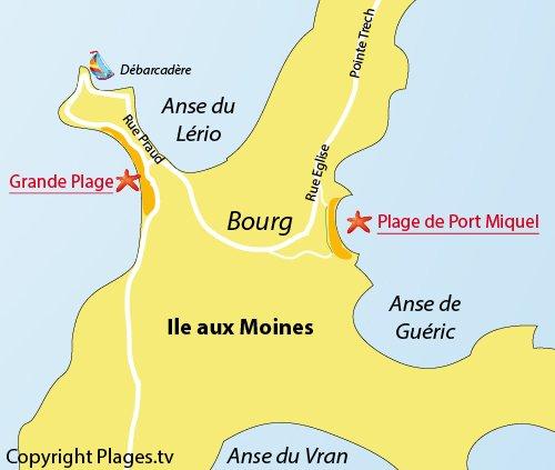 Plan de la plage de Port Miguel sur l'ile aux Moines