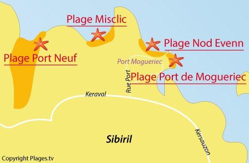 Carte de la plage de Port de Mogueriec à Sibiril