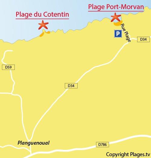 Carte de la plage de Port Morvan à Planguenoual