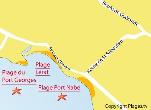 Map of Port Nabé Beach in Piriac sur Mer
