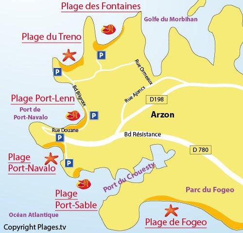 Plan de la plage de Port Navalo à Arzon