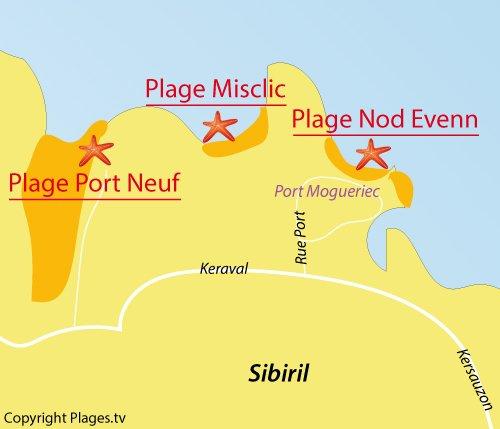 Carte de la plage de Port Neuf à Sibiril