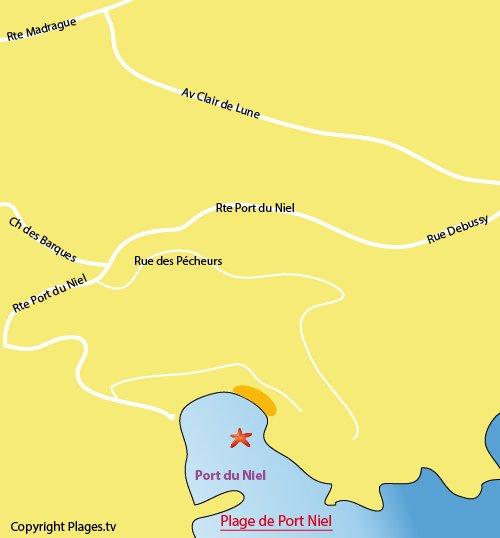 Map of Niel Port Beach in Hyères - Giens