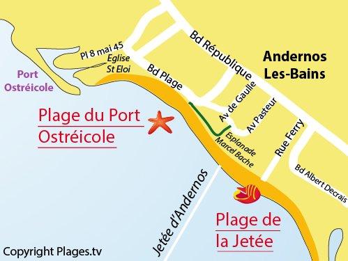 Carte de la plage du Port Ostréicole d'Andernos les Bains