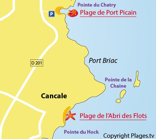 Map of Port Picain Beach in Cancale